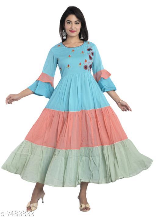 Women Printed Malmal Gown Kurta  (Multicolor)