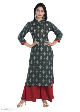 Women's Black Printed Rayon Kurti