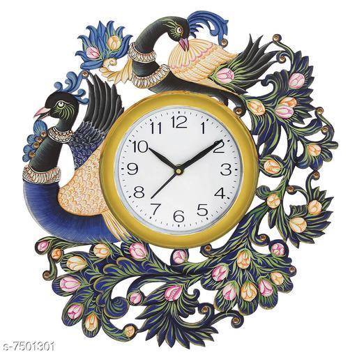 Brown Wood Peacock Wood Clock