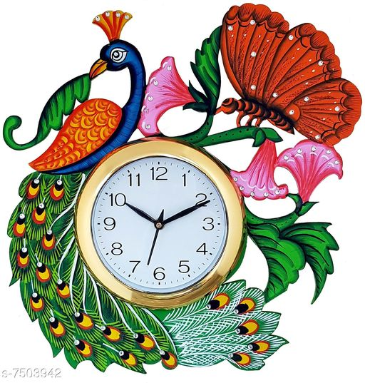 A Wonderful  One Peacock  (32Cmx35Cm) Wood Clock  Made In India