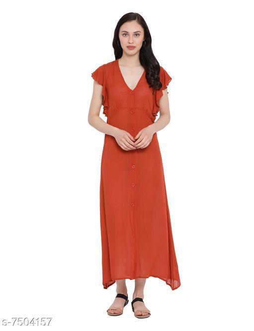 Women's Solid Rust Viscose Rayon Dress