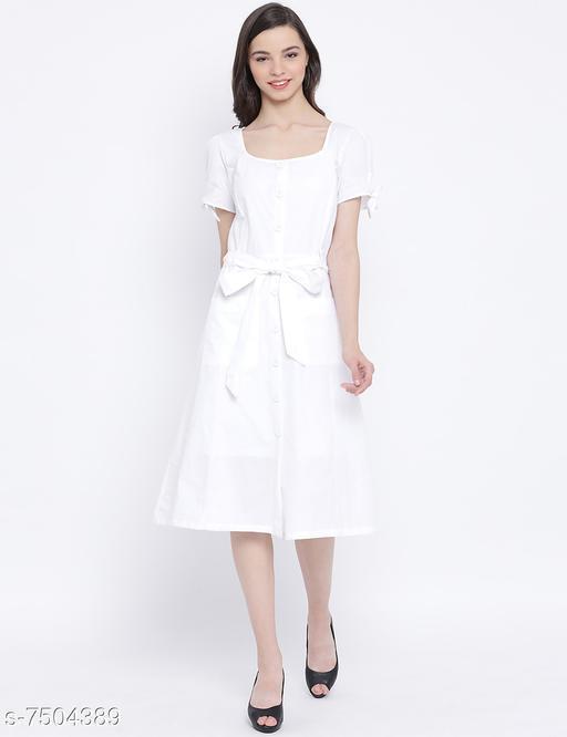Women's Solid White Cotton Dress