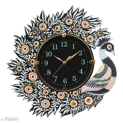A Wonderful  One Peacock And One Bird   (32Cmx32Cm) Wood Clock  Made In India