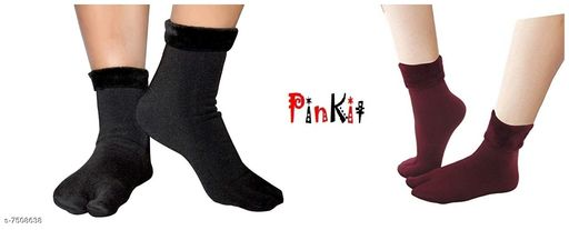 Pinkit Women's Winter Thick Warm Fleece Lined Thermal Stretchy Elastic Velvet Socks (With Thumb) (Black & Mehroon, Free size)