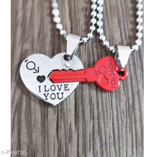 ShivJagdamba  Couple I Love You  Heart & Key  Necklace Pendant With Dual Locket Chain (2 piece)   Silver & Red  Stainless Steel Necklace Pendant Men And Women