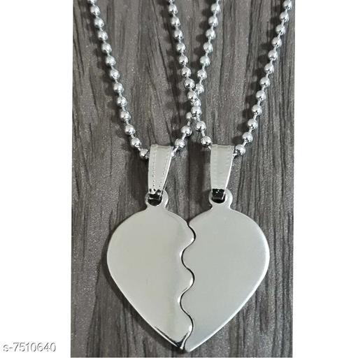 Sullery Couple  Mickey Mouse Love Heart Necklace Pendant With Dual Locket Chain (2 piece)   Multicolour  Zinc Metal Necklace Pendant