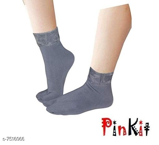 Pinkit Women's Winter Thick Warm Fleece Lined Thermal Stretchy Elastic Velvet Socks (With Thumb) (Grey, Free size)