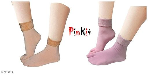 Pinkit Women's Winter Thick Warm Fleece Lined Thermal Stretchy Elastic Velvet Socks (With Thumb) (Skin & Pink, Free size)