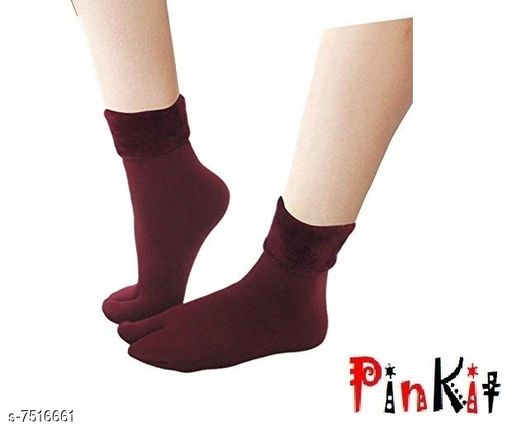 Pinkit Women's Winter Thick Warm Fleece Lined Thermal Stretchy Elastic Velvet Socks (With Thumb) (Maroon, Free size)