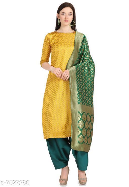 Suits & Dress Materials Trendy Collection Women's Cotton Jacquard Salwar Suit Material-Yellow( Suit- 2 MTR, Salwar-2 MTR, Dupatta-2.20 MTR)  *Top Fabric* Jacquard + Top Length  *Bottom Fabric* Taffeta Silk + Bottom Length  *Dupatta Fabric* Jacquard + Dupatta Length  *Lining Fabric* Jacquard  *Type* Un Stitched  *Pattern* Woven Design  *Multipack* Single  *Sizes Available* Un Stitched *    Catalog Name: Aishani Petite Salwar Suits & Dress Materials CatalogID_1214552 C74-SC1002 Code: 676-7527286-9921