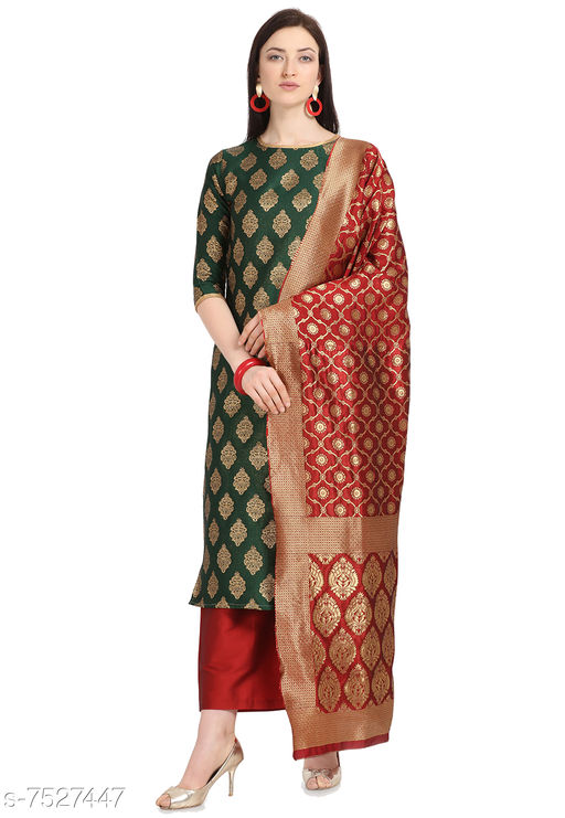 Suits & Dress Materials Trendy Collection Jacquard Woven Salwar Suit Material For Women-Green( Suit- 2 MTR, Salwar-2 MTR, Dupatta-2.20 MTR)  *Top Fabric* Jacquard + Top Length  *Bottom Fabric* Taffeta Silk + Bottom Length  *Dupatta Fabric* Jacquard + Dupatta Length  *Lining Fabric* Jacquard  *Type* Un Stitched  *Pattern* Woven Design  *Multipack* Single  *Sizes Available* Un Stitched *    Catalog Name: Abhisarika Pretty Salwar Suits & Dress Materials CatalogID_1214588 C74-SC1002 Code: 676-7527447-9921