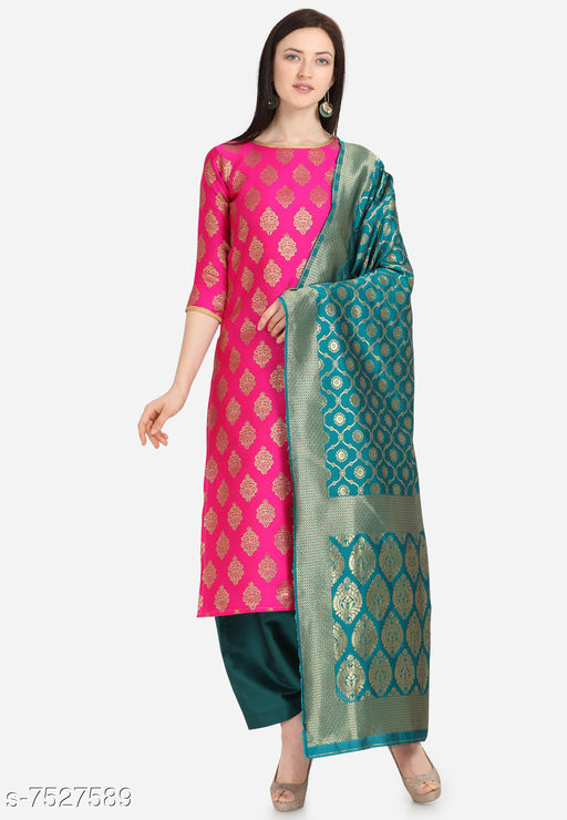Suits & Dress Materials Trendy Collection Jacquard Woven Salwar Suit Material For Women-Pink( Suit- 2 MTR, Salwar-2 MTR, Dupatta-2.20 MTR)  *Top Fabric* Jacquard + Top Length  *Bottom Fabric* Taffeta Silk + Bottom Length  *Dupatta Fabric* Jacquard + Dupatta Length  *Lining Fabric* Jacquard  *Type* Un Stitched  *Pattern* Woven Design  *Multipack* Single  *Sizes Available* Un Stitched *    Catalog Name: Aagam Fashionable Salwar Suits & Dress Materials CatalogID_1214622 C74-SC1002 Code: 676-7527589-9921