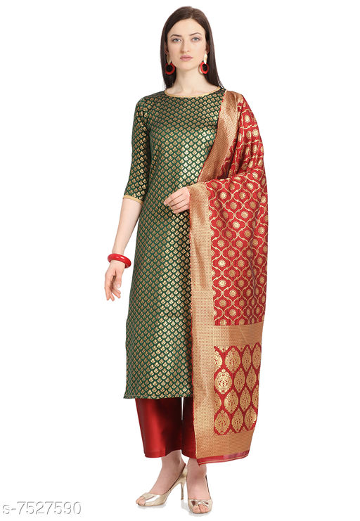 Suits & Dress Materials Trendy Collection Women's Cotton Jacquard Salwar Suit Material-Green( Suit- 2 MTR, Salwar-2 MTR, Dupatta-2.20 MTR)  *Top Fabric* Jacquard + Top Length  *Bottom Fabric* Taffeta Silk + Bottom Length  *Dupatta Fabric* Jacquard + Dupatta Length  *Lining Fabric* Jacquard  *Type* Un Stitched  *Pattern* Woven Design  *Multipack* Single  *Sizes Available* Un Stitched *    Catalog Name: Aagam Fashionable Salwar Suits & Dress Materials CatalogID_1214622 C74-SC1002 Code: 676-7527590-9921