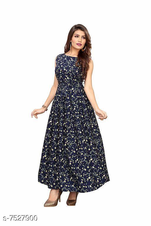 Women's Printed Navy Blue Silk Dress
