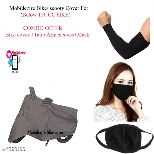 Grey Bike Cover Combo With Arm Sleeve+Mask  For Access