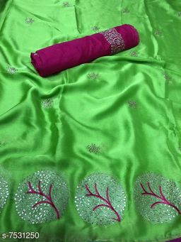 Attractive Moss Chiffon Women's Saree