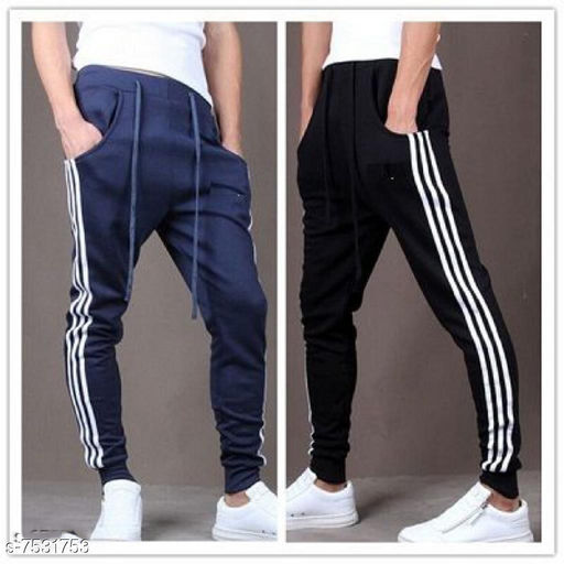 Men's Casual Solid Track Pants Navy-Black Pack of 2