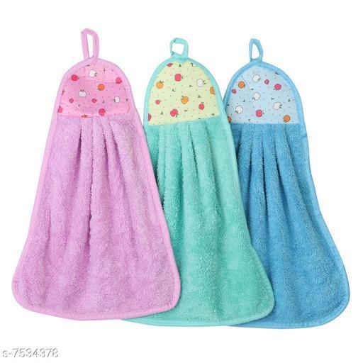 NFI essentials Hanging Hand Towel Velvet Napkin for Wash and Kitchen Basin (42 x 30 cm; Assorted Colour) - Set of 3
