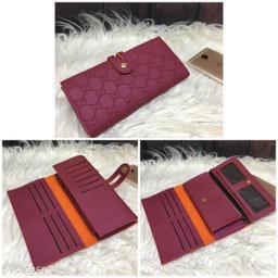 Trendy Women's Maroon PU Wallet