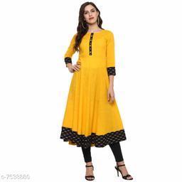 Women Cotton Blend Anarkali Printed Yellow Kurti