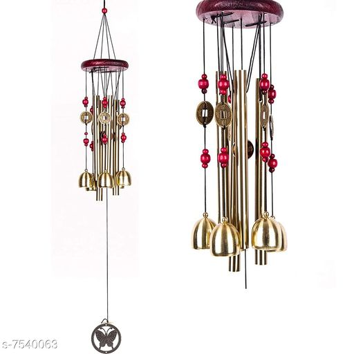 BLACK HORSE Metal Wind Chimes with 4 Pipe and 5 Bells for Feng Shui at Home Balcony Garden Positive Energy, Home Decor Hanging Gifts for Loved Ones Jingle Good Sound 21 Inch Long