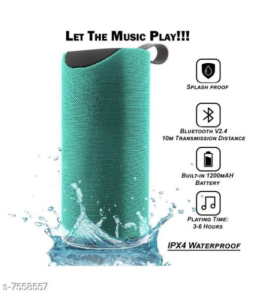 TG113 Super Bass Splash Proof Wireless Bluetooth Speaker Best Sound Quality Playing with All Device(GREEN)