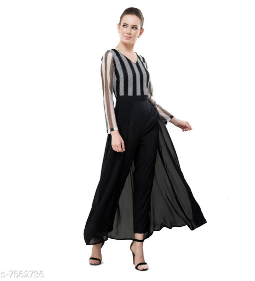 V&M Black And White Women's Latest Designer Fusion Lace Layered Jumpsuit Come Maxi Party Wear  Dress
