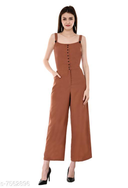 V&M Rust Color Crepe Designer Front Button Open Shoulder Strap Jumpsuit for Women