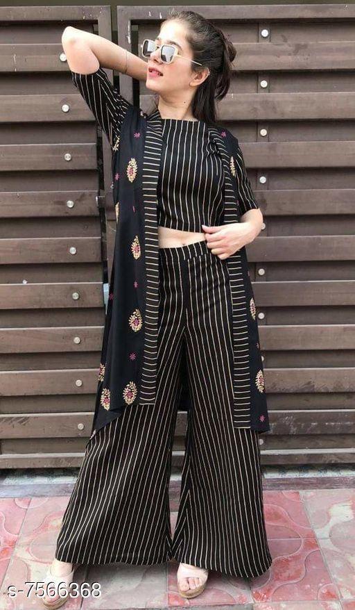 Women Rayon Jacket Kurta Printed Short Kurti With Palazzos