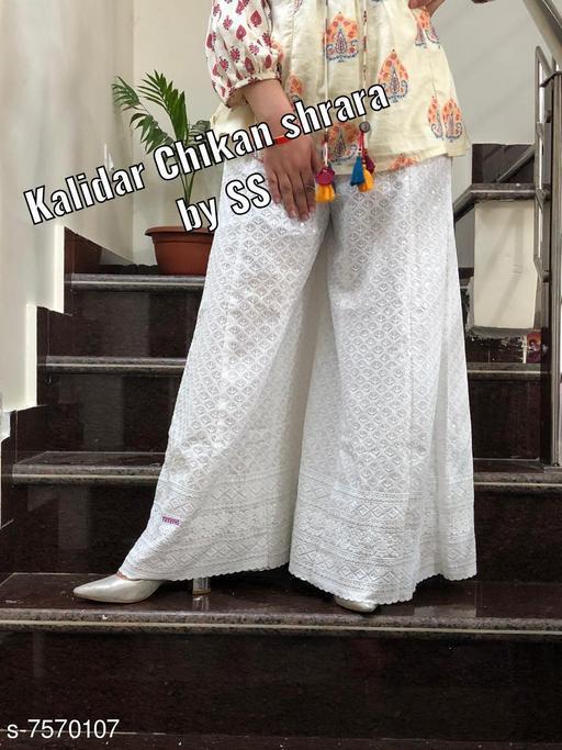 Chikan Work Cotton Qalidar Sharara