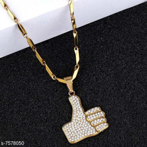 SILVERSHINE Gold Plated Adorable Classic Chain with Thumps Up Diamond Studded Pendant For Men and boy