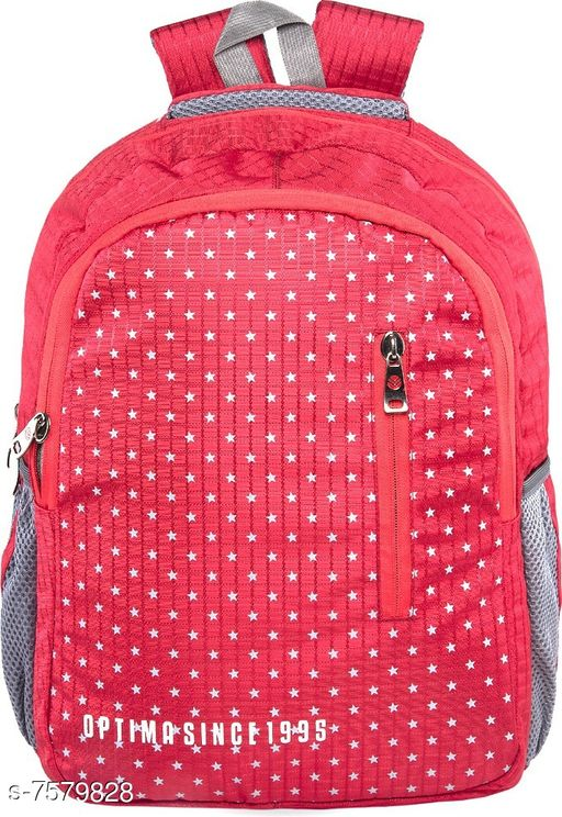 Optima OPT-N-54 Red Compact & Stylish Bookbag Perfect for Students  Office  or Travel 29 L Backpack Red