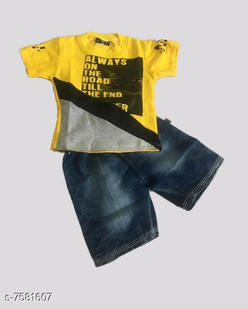 Clothing Sets Denim kids clothing Sleeve Length: Short Sleeves Top Pattern: Printed Bottom Pattern: Solid Multipack: Pack Of 1 Sizes:  0-6 Months (Top Chest Size: 20 in Bottom Waist Size: 20 in Bottom Length Size: 22 in) 18-24 Months (Top Chest Size: 22 in Bottom Waist Size: 22 in Bottom Length Size: 25 in) 6-12 Months (Top Chest Size: 20.5 in Bottom Waist Size: 20.5 in Bottom Length Size: 22.5 in) 12-18 Months (Top Chest Size: 21 in Bottom Waist Size: 21 in Bottom Length Size: 24 in) Country of Origin: India Sizes Available: 2-3 Years, 3-4 Years, 4-5 Years, 5-6 Years, 6-7 Years, 0-6 Months, 6-9 Months, 6-12 Months, 12-18 Months, 18-24 Months, 1-2 Years   Catalog Rating: ★4.1 (538)  Catalog Name: Clothing Set For Kids CatalogID_1226317 C59-SC1182 Code: 043-7581607-