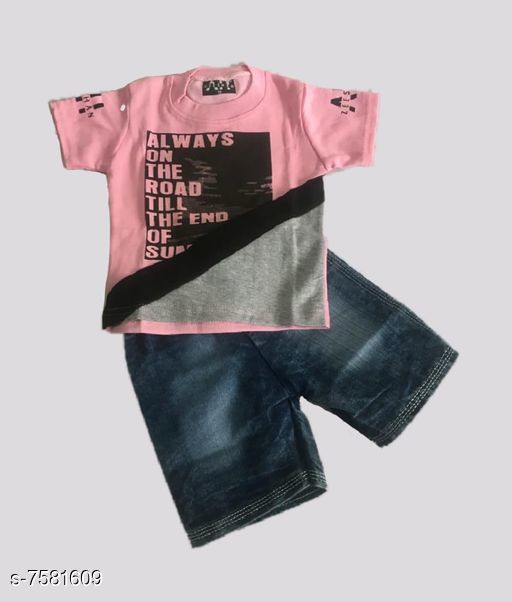 Clothing Sets Denim kids clothing Sleeve Length: Short Sleeves Top Pattern: Printed Bottom Pattern: Solid Multipack: Pack Of 1 Sizes:  0-6 Months (Top Chest Size: 20 in, Bottom Waist Size: 20 in, Bottom Length Size: 22 in) 18-24 Months (Top Chest Size: 22 in, Bottom Waist Size: 22 in, Bottom Length Size: 25 in) 6-12 Months (Top Chest Size: 20.5 in, Bottom Waist Size: 20.5 in, Bottom Length Size: 22.5 in) 12-18 Months (Top Chest Size: 21 in, Bottom Waist Size: 21 in, Bottom Length Size: 24 in) Sizes Available: 0-6 Months, 3-6 Months, 6-9 Months, 6-12 Months, 9-12 Months, 12-18 Months, 18-24 Months, 1-2 Years, 2-3 Years, 3-4 Years, 4-5 Years, 5-6 Years, 6-7 Years *Proof of Safe Delivery! Click to know on Safety Standards of Delivery Partners- https://ltl.sh/y_nZrAV3  Catalog Rating: ★4.1 (519)  Catalog Name: Clothing Set For Kids CatalogID_1226317 C59-SC1182 Code: 043-7581609-
