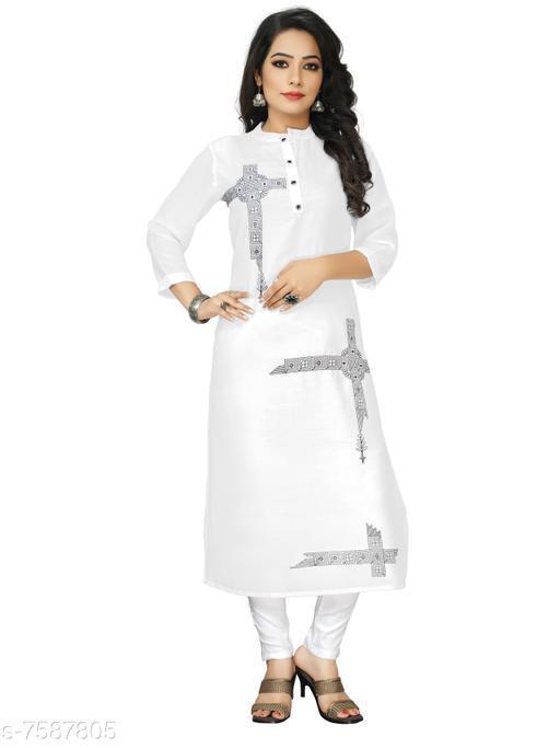 Women's Embroidered White Cotton Linen Kurti