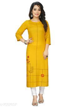 Women Cotton Linen A-line Embroidered Mustard Kurti