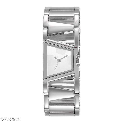 White Bangle Girls Silver Bracelet Design Attractive Watch for Women