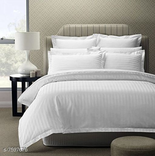 "100% Cotton Satin Striped Bed sheets, 210TC,  108"" x108"""