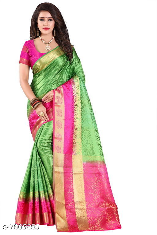 Sarees Fashion Enterprise Present New Women Heavy Fashionable Cotton Saree  *Saree Fabric* Cotton Silk  *Blouse* Running Blouse  *Blouse Fabric* Cotton Silk  *Pattern* Solid  *Blouse Pattern* Same as Saree  *Multipack* Single  *Sizes*   *Free Size (Saree With Blouse Length Size* 6.3 M) Combination of color and fabric gives a rich and unique look. Thanks to our fashion team whose continuous efforts and work give us such a fantastic sarees with the highest standard of color; work; designs; and fabric. Classy and elegant; these Cotton Shopy sarees is made of fabric; our sarees will certainly lend you a graceful look. Featuring an attractive design; our sarees are quite comfort to wear and easy to drape as well.  *Sizes Available* Free Size *   Catalog Rating: ★4.4 (9)  Catalog Name: Aakarsha Pretty Sarees CatalogID_1231109 C74-SC1004 Code: 047-7603895-9992