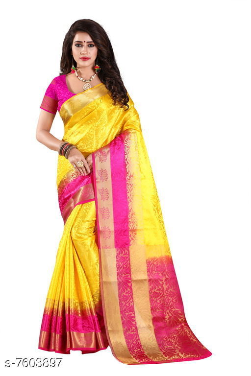 Sarees Fashion Enterprise Present New Women Heavy Fashionable Cotton Saree  *Saree Fabric* Cotton Silk  *Blouse* Running Blouse  *Blouse Fabric* Cotton Silk  *Pattern* Solid  *Blouse Pattern* Same as Saree  *Multipack* Single  *Sizes*   *Free Size (Saree With Blouse Length Size* 6.3 M) Combination of color and fabric gives a rich and unique look. Thanks to our fashion team whose continuous efforts and work give us such a fantastic sarees with the highest standard of color; work; designs; and fabric. Classy and elegant; these Cotton Shopy sarees is made of fabric; our sarees will certainly lend you a graceful look. Featuring an attractive design; our sarees are quite comfort to wear and easy to drape as well.  *Sizes Available* Free Size *   Catalog Rating: ★4.4 (9)  Catalog Name: Aakarsha Pretty Sarees CatalogID_1231109 C74-SC1004 Code: 047-7603897-9992
