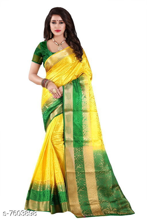 Sarees Fashion Enterprise Present New Women Heavy Fashionable Cotton Saree  *Saree Fabric* Cotton Silk  *Blouse* Running Blouse  *Blouse Fabric* Cotton Silk  *Pattern* Solid  *Blouse Pattern* Same as Saree  *Multipack* Single  *Sizes*   *Free Size (Saree With Blouse Length Size* 6.3 M) Combination of color and fabric gives a rich and unique look. Thanks to our fashion team whose continuous efforts and work give us such a fantastic sarees with the highest standard of color; work; designs; and fabric. Classy and elegant; these Cotton Shopy sarees is made of fabric; our sarees will certainly lend you a graceful look. Featuring an attractive design; our sarees are quite comfort to wear and easy to drape as well.  *Sizes Available* Free Size *   Catalog Rating: ★4.4 (9)  Catalog Name: Aakarsha Pretty Sarees CatalogID_1231109 C74-SC1004 Code: 047-7603898-9992