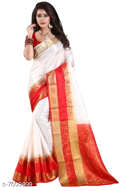 Sarees Fashion Enterprise Present New Women Heavy Fashionable Cotton Saree  *Saree Fabric* Cotton Silk  *Blouse* Running Blouse  *Blouse Fabric* Cotton Silk  *Pattern* Solid  *Blouse Pattern* Same as Saree  *Multipack* Single  *Sizes*   *Free Size (Saree With Blouse Length Size* 6.3 M) Combination of color and fabric gives a rich and unique look. Thanks to our fashion team whose continuous efforts and work give us such a fantastic sarees with the highest standard of color; work; designs; and fabric. Classy and elegant; these Cotton Shopy sarees is made of fabric; our sarees will certainly lend you a graceful look. Featuring an attractive design; our sarees are quite comfort to wear and easy to drape as well.  *Sizes Available* Free Size *   Catalog Rating: ★4.4 (9)  Catalog Name: Aakarsha Pretty Sarees CatalogID_1231109 C74-SC1004 Code: 047-7603899-9992