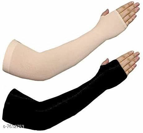 Brand's Only Men's and Women's Hand Cover Thumbhole Arm Sleves Black Beige (Pack Of 2)