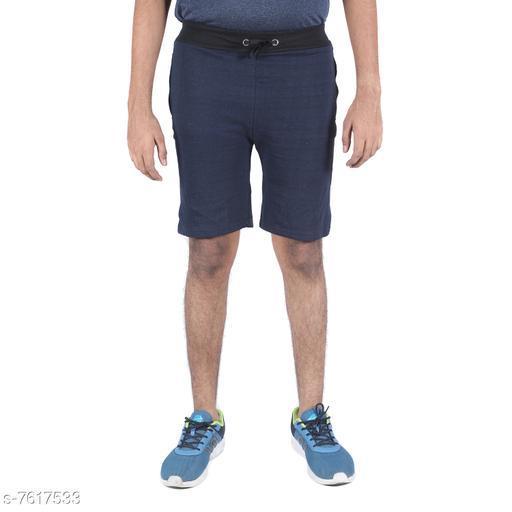 Indirang Men's Blue Color Cotton Short