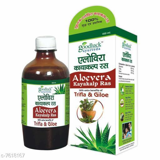 Ayurveda & Herbs Goodluck Ayurveda Aloevera Kayakalp Ras With Extra Benefits of Trifla And Giloe - 450 ML  *Product Name* Ayurveda & Herbs  *Brand Name * Goodluck  *Type* Ayurveda & Herbs  *Multipack* 1  *Capacity * 450 ml  *Sizes Available* Free Size *    Catalog Name: Ayurveda & Herbs CatalogID_1234482 C126-SC1312 Code: 992-7618167-
