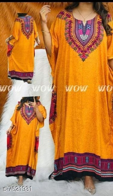 Kaftans  *Product Name* PLUS SIZE NIGHT GOWN KAFTAN  *Product Name* PLUS SIZE NIGHT GOWN KAFTAN  *Fabric* Rayon  *Type* Printed  *Size*   *XL (Bust Size* 42 in, Length Size  *XXL (Bust Size* 44 in, Length Size  *XXXL (Bust Size* 46 in, Length Size  *Dispatch* 2-3 Days  *Sizes Available* XL, XXL, XXXL *   Catalog Rating: ★3.7 (104)  Catalog Name: Kaftan Kurtis CatalogID_1235407 C79-SC1009 Code: 334-7621931-