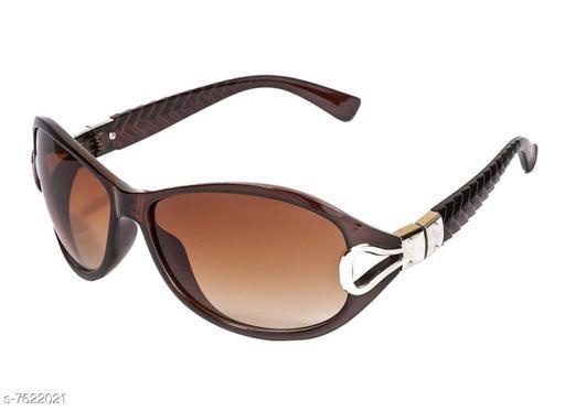 LOF Brown Oval Full Rim UV Protected Sunglasses for Women - (V-6106)