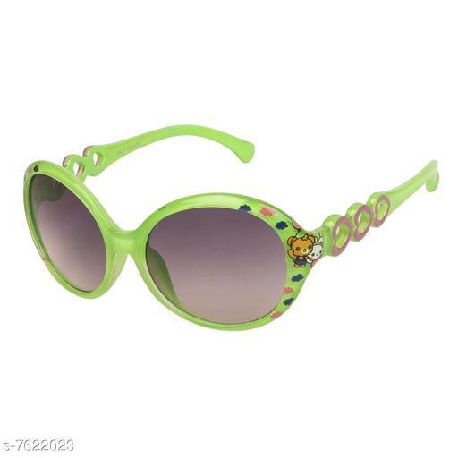 LOF Green Oval Full Rim UV Protected Sunglasses for Girls - (V-7344)