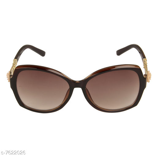 LOF Brown Oval Full Rim UV Protected Sunglasses for Women - (LS-D1511-1)