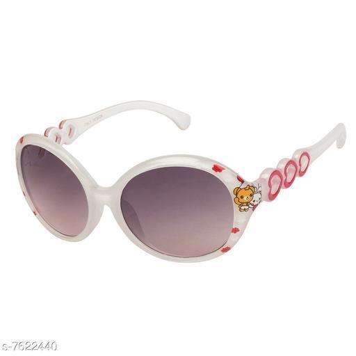 LOF White Round Full Rim UV Protected Sunglasses for Girls - (V-7342)